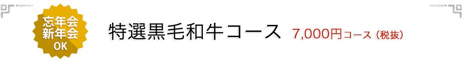 忘年会・新年会 特選黒毛和牛コース 7,000円コース(税抜)