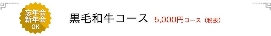 忘年会・新年会 黒毛和牛 5,000円コース(税抜)